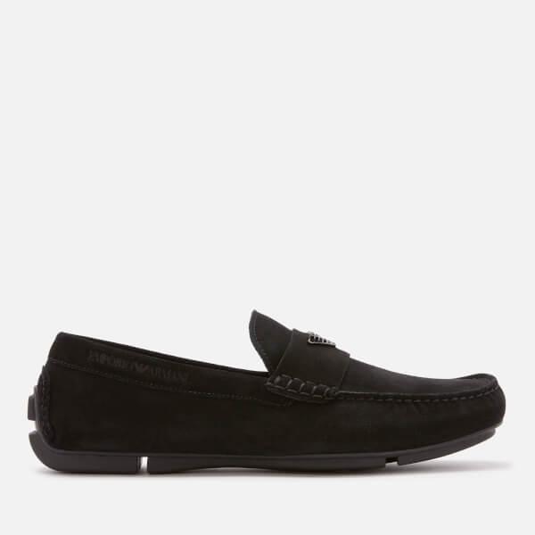 Emporio Armani Men's Zinos Suede Driver Shoes   Black by All Sole