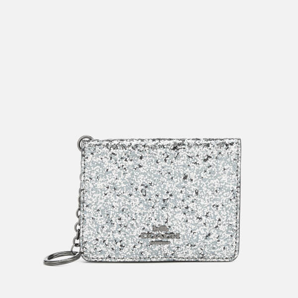 Coach Women's Glitter Key Ring Card Case - Metallic Graphite