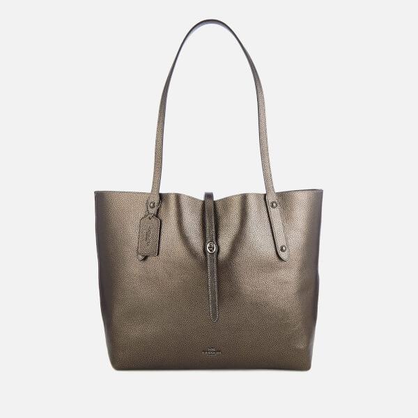 Coach Women's Metallic Leather Market Tote Bag - Metallic Graphite