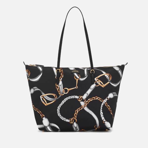 Lauren Ralph Lauren Women s Chadwick Medium Tote Bag - Black Sig Belting  Print  Image 1 ffda9818f2e54