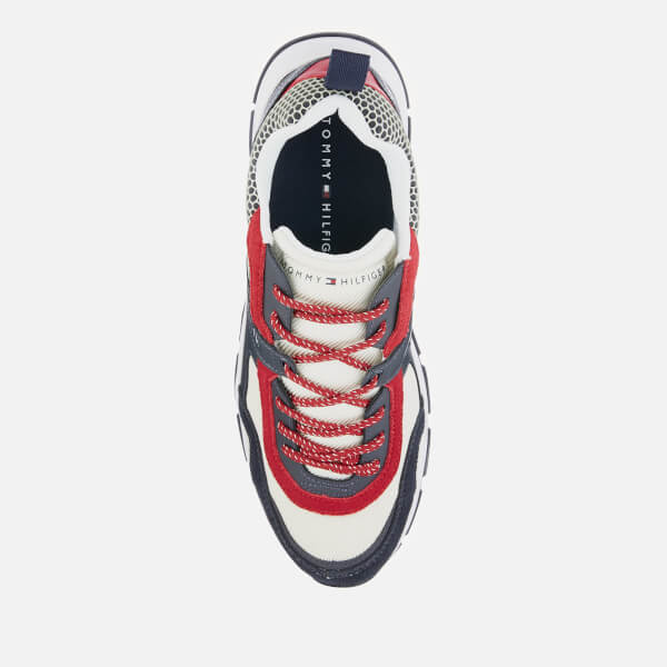 0efba2d7 Tommy Hilfiger Men's Material Mix Lightweight Runner Trainers -  Red/White/Blue: Image