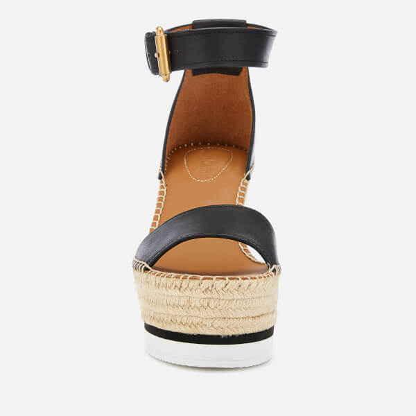 fc20267d552cb See By Chloé Women s Leather Espadrille Wedge Sandals - Black  Image 2