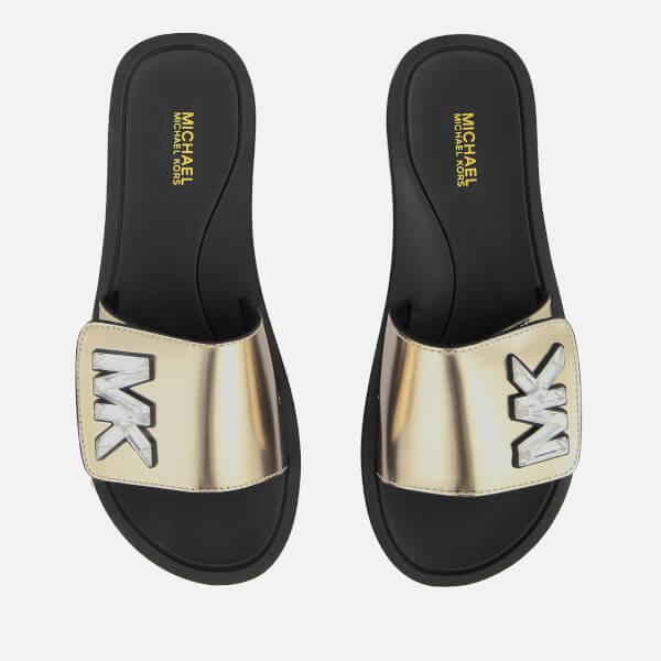 332f7a350913 MICHAEL MICHAEL KORS Women s MK Slide Sandals - Pale Gold  Image 1