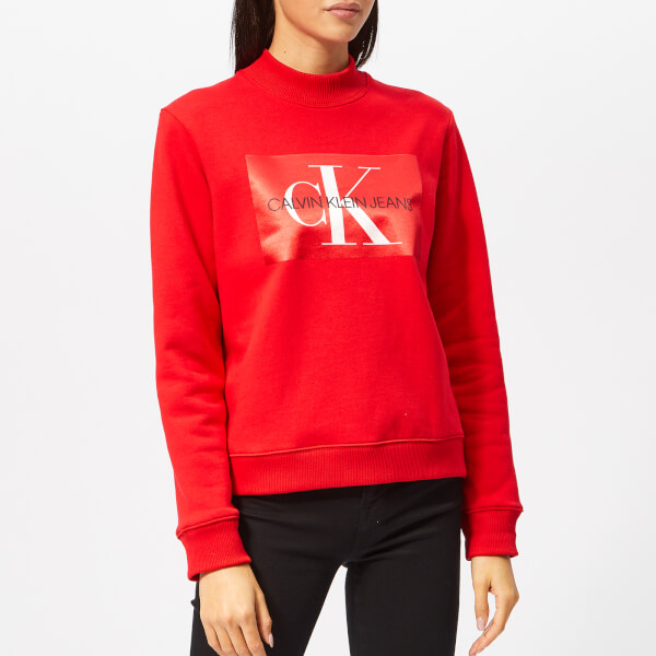 ecc9a27eed Calvin Klein Jeans Women s Monogram Satin Box Sweatshirt - Racing Red   Image 1
