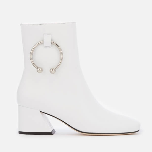 Dorateymur Women's Nizip Leather Heeled Ankle Boots - White