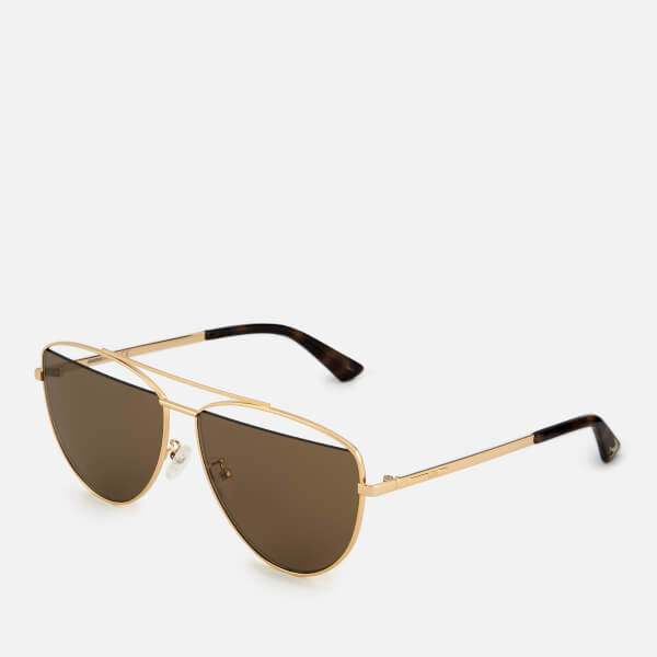 258c7ae789 McQ Alexander McQueen Women s Metal Aviator Style Sunglasses - Gold  Image 2