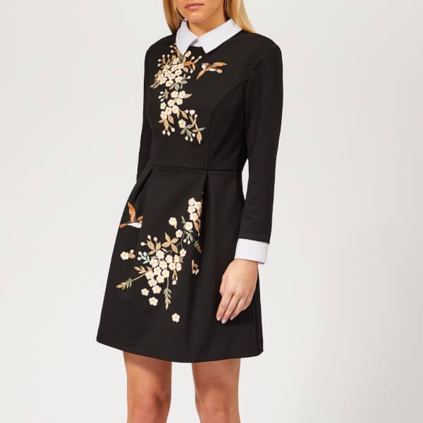 8943d6c2388903 Ted Baker Women s Ellan Graceful Embroidered Dress - Black Womens ...