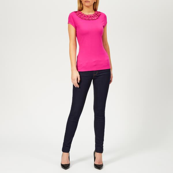 f24c090f90b0d3 Ted Baker Women s Charre Bow Neck Trim Detail T-Shirt - Bright-Pink ...