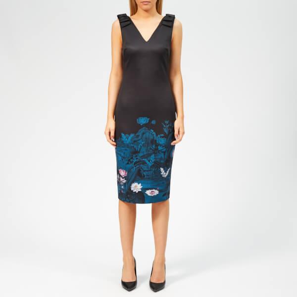 19c909e239be44 Ted Baker Women s Dinina Wonderland Bow Bodycon Dress - Dark Blue  Image 1