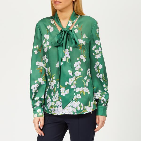 28b726857d0c1a Ted Baker Women s Johsie Graceful Ruffle Full Sleeve Top - Green  Image 1