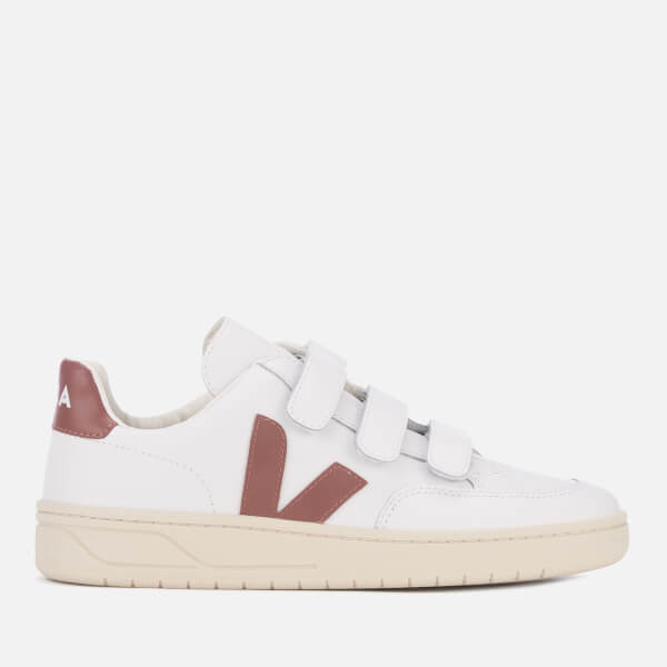 Veja Women s V-12 Velcro Leather Trainers - Extra White Dried Petal  Image 7ddcd0f776