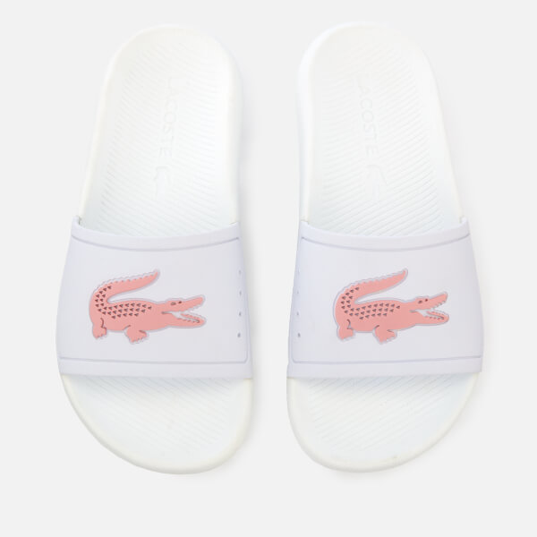 Lacoste Women's Croco Slide 119 3 Sandals - White/Light Pink