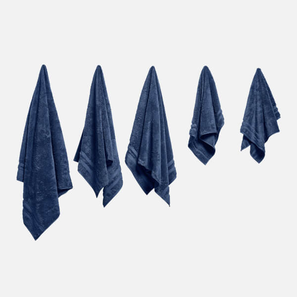 in homeware 100% Egyptian Cotton Pile 5 Piece Towel Bale - Blue
