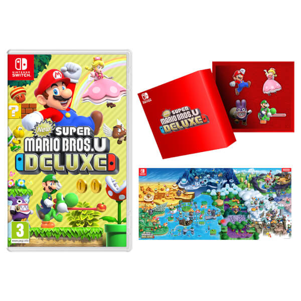 New Super Mario Bros. U Deluxe + Pin Badge Set + Poster Map