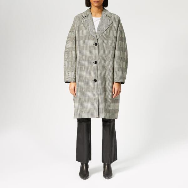 MM6 Maison Margiela Women's Woven Coccoon Shape Coat - White/Black