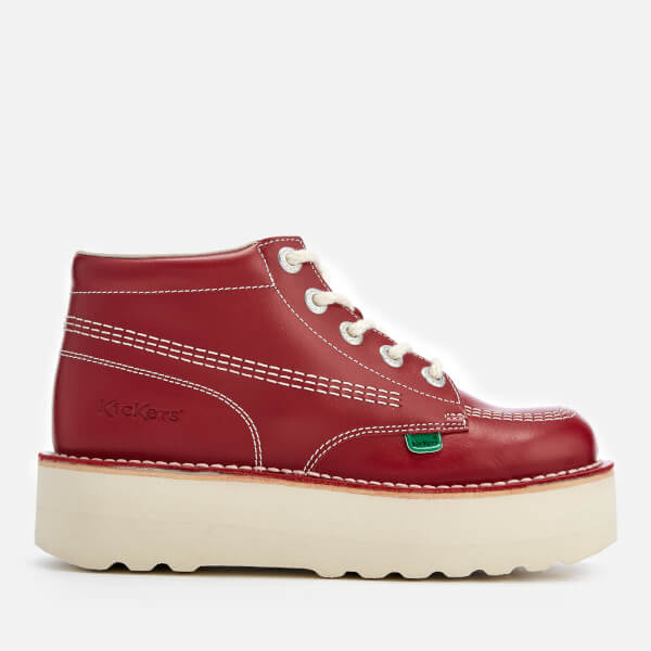 Kickers Women's Kick Hi-Stack Leather Boots - Red