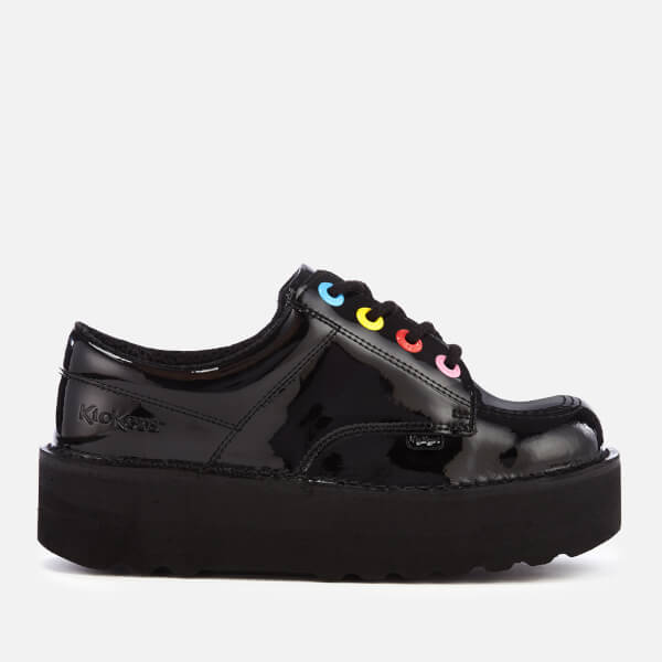 Kickers Women's Kick Lo Stack Patent Leather Shoes - Black/Multi