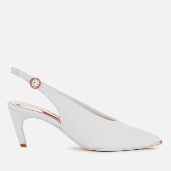 Ted Baker Women's Hulia Leather Sling Back Kitten Heels - White
