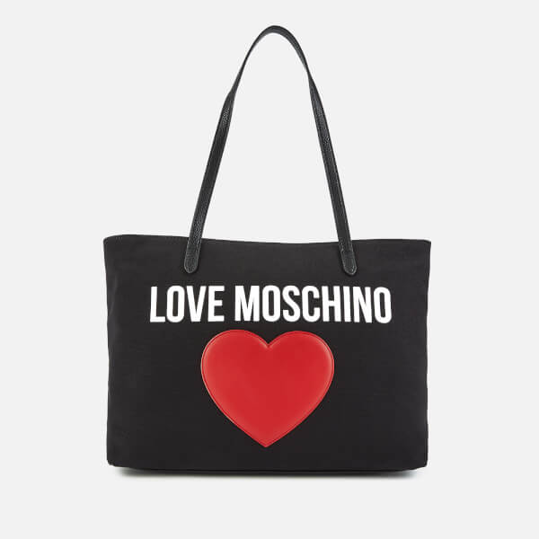 515a41a26fe1 Love Moschino Women s Canvas Heart Logo Tote Bag - Black  Image 1