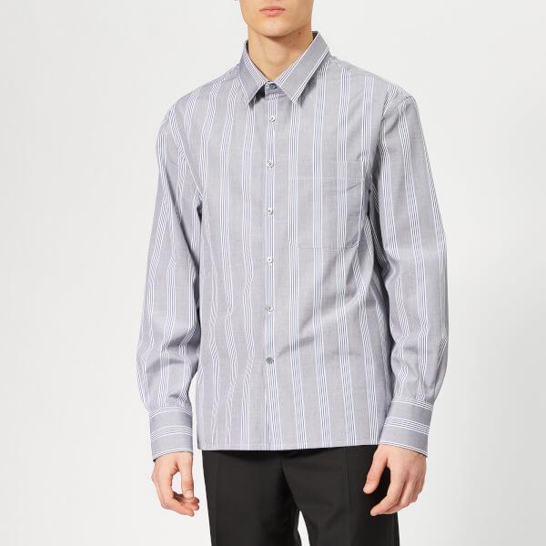 Lanvin Men's Oversized Chest Pocket Shirt - Blue