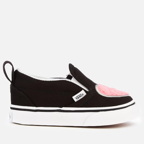 deb3ce70feeb Vans Toddlers  Fur Heart Slip-On Trainers - Strawberry Pink Black  Image