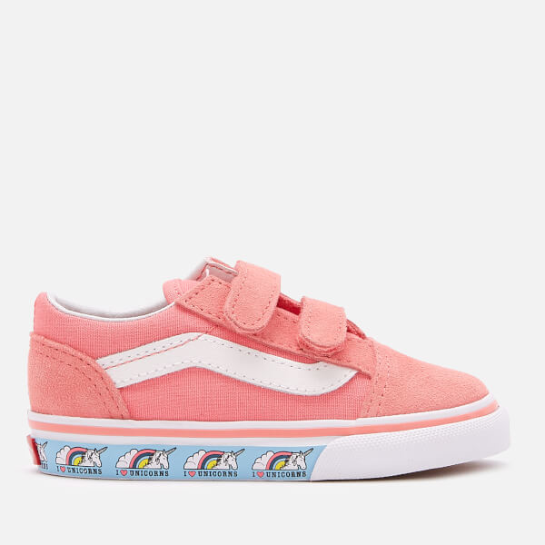062ff8c032 Vans Toddlers  Unicorn Old Skool Velcro Trainers - Strawberry Pink True  White  Image