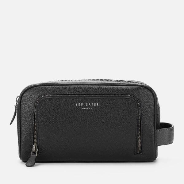 Ted Baker Men s Razor Leather Wash Bag - Black  Image 1 f0372538cb4a5