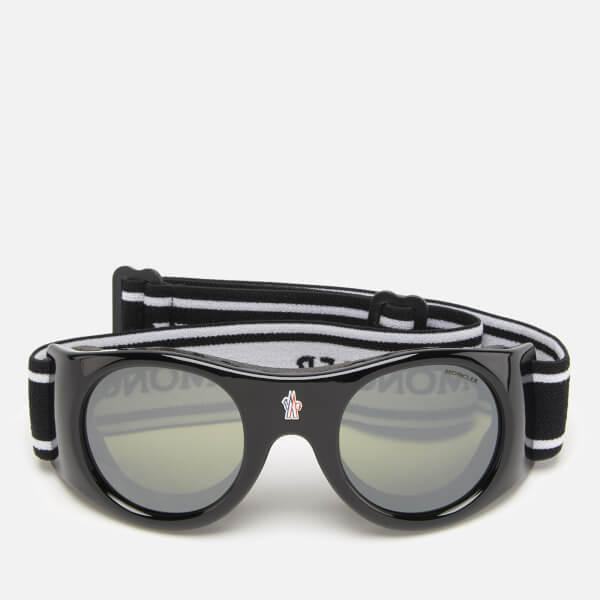 56b50217818f6 Moncler Men s Elastic Ski Goggles - Shiny Black Smoke Mirror  Image 1