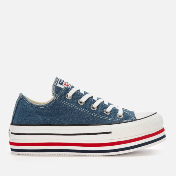 Converse Women's All Star Platform Layer Ox Trainers - Ensign Blue/White/Black