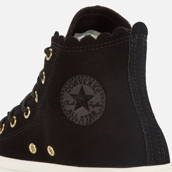 Converse Women s Chuck Taylor All Star Scalloped Edge Hi-Top Trainers -  Black Gold f6708dbd8