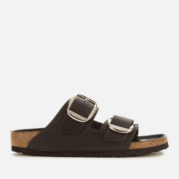 Birkenstock Women's Arizona Big Buckle Leather Slim Fit Double Strap Sandals - Black
