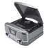 GPO Retro Memphis Turntable 4-in-1 Music System with Built in CD and FM Radio - Silver: Image 1