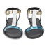 HUGO Women's Serine-R Flat Leather T-Bar Sandals - Open White: Image 4