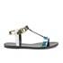 HUGO Women's Serine-R Flat Leather T-Bar Sandals - Open White: Image 1
