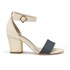 Kat Maconie Jenny Leather Block Heel Contrast Sandals - Grey/Nude: Image 1