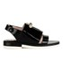 Carven Women's Two Strap Patent Leather Flat Sandals - Black: Image 1