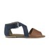Ravel Women's Dallas Multi Strap Peep Toe Flat Sandals - Navy/Tan: Image 1
