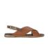 HUGO Women's Valenteen Snake Print Leather Crossover Sandals - Light/Pastel Brown: Image 1