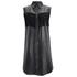Ganni Women's Leather Fringed Shirt Dress - Black: Image 1