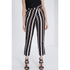 Lavish Alice Women's Stripe Crossover D-Ring Peg Leg Trousers - Black/Cream/Burgundy: Image 2