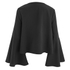 Lavish Alice Women's Lace Up Deep Plunge Bell Long Sleeve Top - Black: Image 3