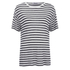 T by Alexander Wang Women's Stripe Rayon Linen Short Sleeve T-Shirt - Ink and Ivory: Image 1
