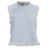 T by Alexander Wang Women's Frayed Burlap Sleeveless Crop Top - Sky: Image 1