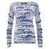 Karl Lagerfeld Women's Fringe Squiggle Sweatshirt - Blue: Image 1