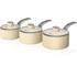 Swan SWPS3020CN 3 Piece Retro Aluminium Saucepan Set - Cream: Image 1