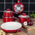 Swan SWPS3020RN 3 Piece Retro Aluminium Saucepan Set - Red: Image 3