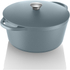 Tower IDT90001 Cast Iron Round Casserole Dish - Blue - 26cm: Image 1