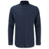 Brave Soul Men's Oakley Collarless Long Sleeve Shirt - Ink/Navy: Image 1