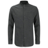 Brave Soul Men's Oakley Collarless Long Sleeve Shirt - Charcoal/Black: Image 1