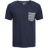 Jack & Jones Men's Originals Raw Stripe Pocket T-Shirt - Dark Blue Denim: Image 1